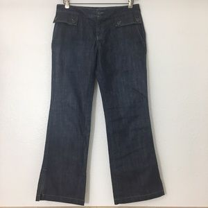 Banana Republic DARK DENIM Wide Leg Jeans Size 8